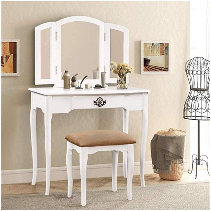 GUYUEXUAN Dressing Table Dressing Table With Mirror And Cushion Bench White