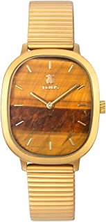Reloj Heritage Gems de Acero IP Dorado con Esfera de Ojo de Tigre