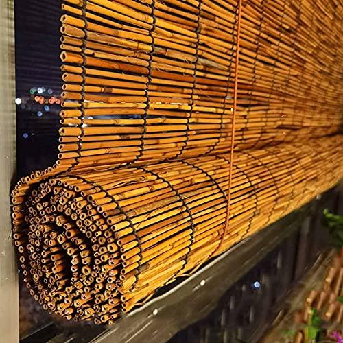 Persianas de Caña Tejidas a Mano,Persianas Enrollables de Bambú Natural,Persianas Romanas de Cortina para Exteriores,Hechas de Caña Natural,para Jardín Interior al Aire Libre,Tasa de Sombreado del 7