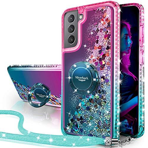 Miss Arts Cover Galaxy S21 5G, [Silverback] Custodia Glitter di in TPU con Supporto, Pendenza Colore Diamond Liquido Cover Case per Samsung Galaxy S21 5G -Verde