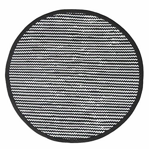 Homescapes runder Teppich Groove, handgewebt aus 100% recycelter Baumwolle, 150 cm, gestreifter Flickenteppich, schwarz-weiß