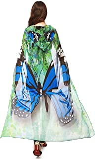 Women Novelty Halloween Cape Wrap Costume Hood Chiffon Butterfly Cosplay Outfit