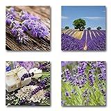 Lavendel - Set B schwebend, 4-teiliges Bilder-Set je Teil