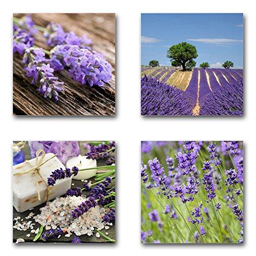 Lavendel - Set B schwebend, 4-teiliges Bilder-Set je Teil 29x29cm, Seidenmatte Moderne Optik auf Forex, UV-stabil, wasserfest, Kunstdruck für Büro, Wohnzimmer, XXL Deko Bild