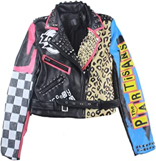 Eagle Printed Leather Graffiti Leather Coat Women's Short Cropped Motorcycle Jacket,Black,XL