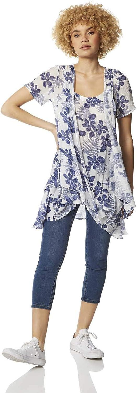 通常便なら送料無料 Roman Originals Women Short Crinkle Top Sleeve 信用 Floral