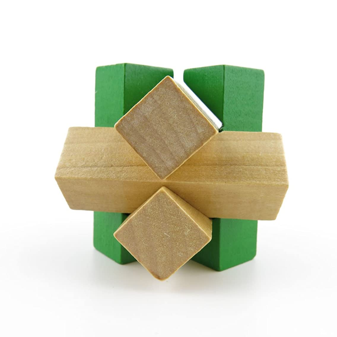 2 pcs Puzzle Game 04668 Green Wooden Kong Ming Lock Brain Teaser Puzzles Toys Jouets