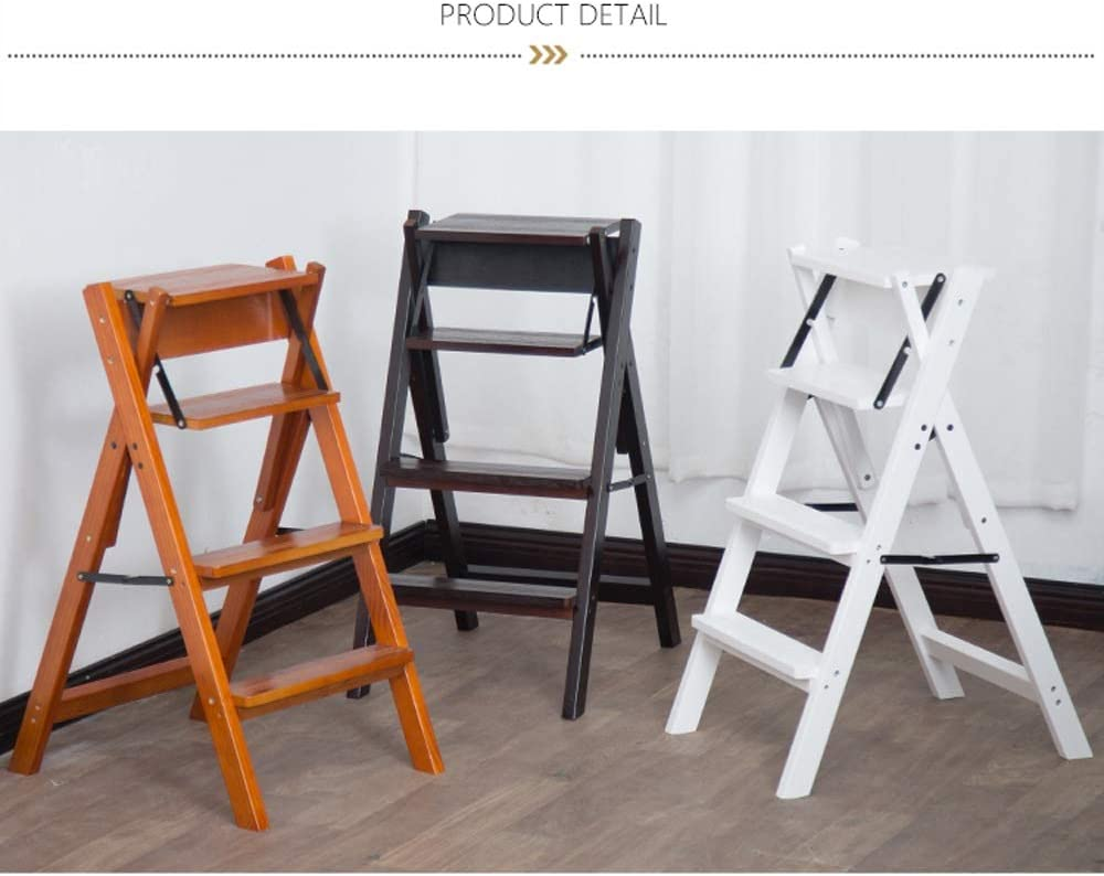 BNSDMM Chaise en bois massif à deux marches - Ménage - Tabouret à pied pliant - Chaise à chevrons - Tabouret - Support à fleurs (Color : A) C