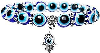 AILUOR Evil Eye Bead Bracelets for Women, Evil Eye Hamsa Blue Beaded Charm Stretch Bracelet Hand of Fatima Turkish Evil Eye Lucky Bracelet for Protection and Blessing