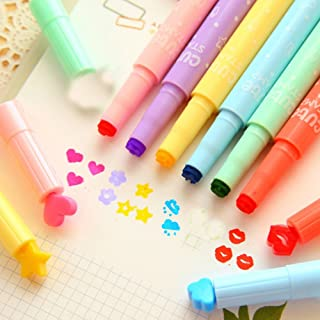 Gotian 3PC Cute Color Highlighters Inks Stamp Pen Creative Marker Pen School Stationery Stamp Highlighters for Kids Girls Boys