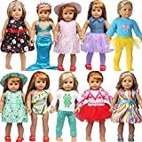 18 inch American Doll Clothes and Accessories fit American 18 inch Girl Dolls - Including 8 Complete Set Toys Doll Outfits,Doll Accessories with Cap, Underwear and Hair Clip