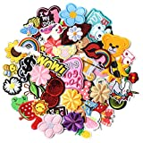 AXEN 60PCS Embroidered Iron on Patches DIY Accessories, Random Assorted Decorative Patches ,Cute Sewing Applique for Jackets, Hats, Backpacks, Jeans, 60 Pieces Package