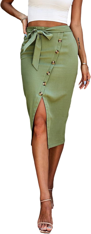 SheIn Women's Button Front Tie Front Split Hem High Waist Pencil Midi Skirt