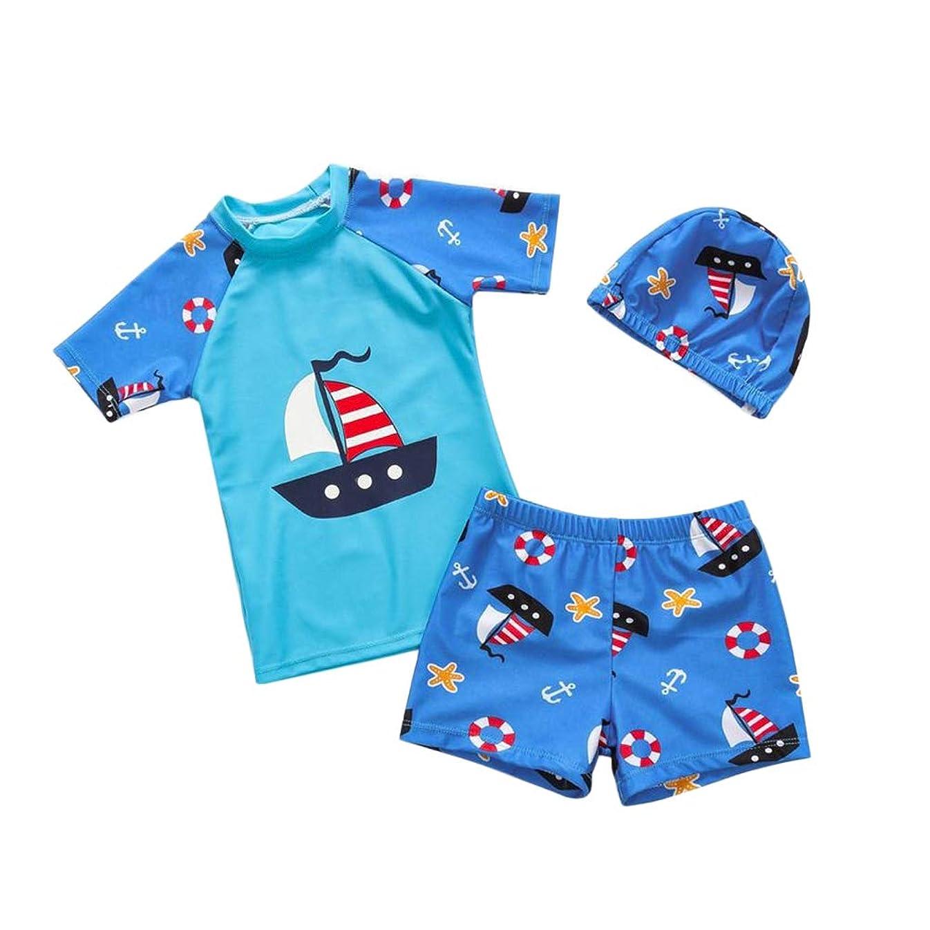 ラバ余剰攻撃的LIOOBO 3個男の子水着子供水着スーツヨット子供ビーチウェアと帽子XL(ブルー)