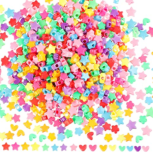 600 Pieces Acrylic Star Beads Acrylic Heart Beads Colorful Assorted Mix Plastic...