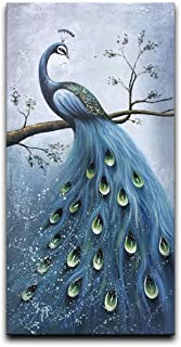 Desihum-Blue Peacock Artwork Canvas Wall art 100% Hand Painted Oil Painting 3D Effected Animal Wall Art Large Vertical Framed Arcrylic Painting for Living Room Bedroom Hallway Modern Home Decor(24x48)