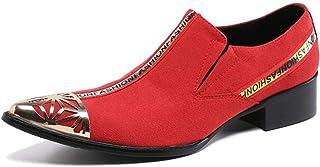 YIZHIYA Chaussures en Cuir Pointues pour Hommes,Chaussures d'uniformes habillées Homme Respirantes Rouges en Cuir véritabl...