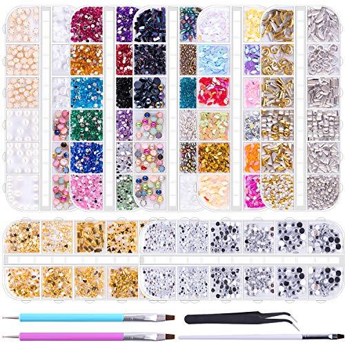 Duufin 10014 Stück Nägel Strasssteine Nägel Kristalle Nagelschmuck mit 2 Stück Strass Picker Dotting Pen 1 Stück Pinzette für Nägel Kunst Dekoration Zubehör Kunst