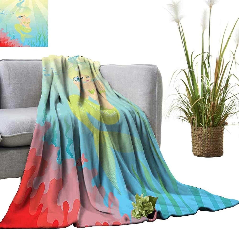 YOYI Comfortable blanketSoft Pastel color Unusual Mermaid Fish Girl Listening to Ocean Sound in a Cozy Hypoallergenic 60 x70