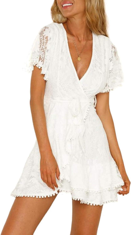 Itsmode Swiss Dot V Neck Mini Dresses for Women Summer Casual Loose Ruffle Short Dresses