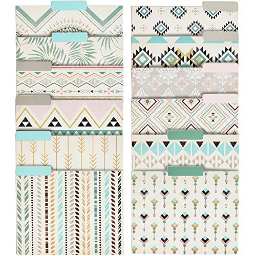 Decorative File Folders with Bohemian Design, Letter Size (9.5 x 11.5 Inches, 12-Pack)