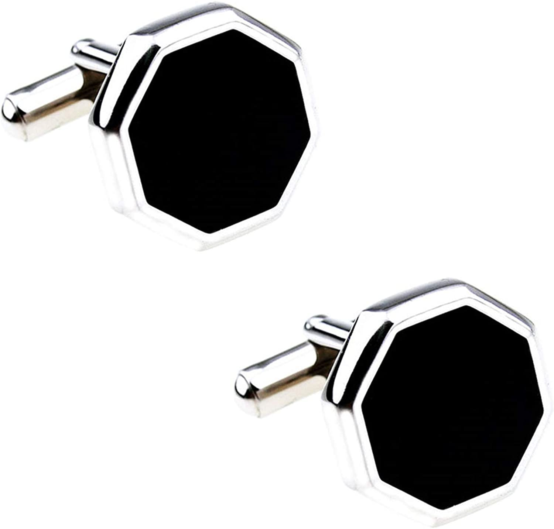 Daesar Copper Cufflinks for Men Cufflink Stud Set Enamel Octagon Cufflink Men Shirts Black