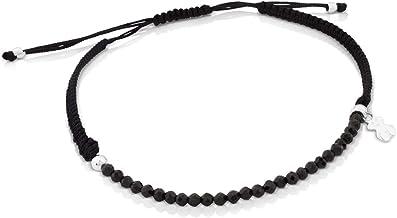 Pulsera TOUS Color de espinelas y plata de primera ley con cordón negro