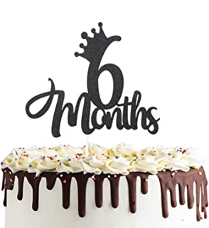 6 Months 1/2 birthday Cake Topper Double Sided Black Glitter Half Birthday Baby Shower First Birthday Party Decorations