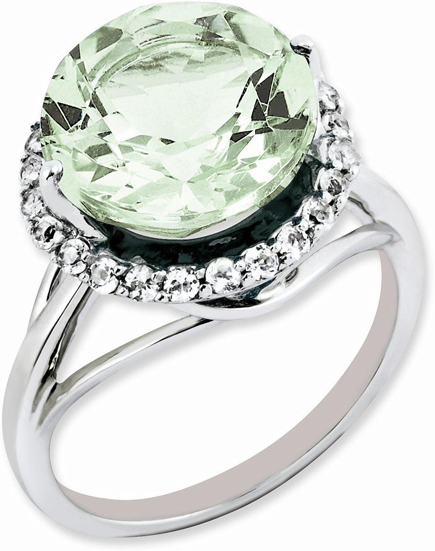 Sterling Silver White Topaz & Green Quartz Ring