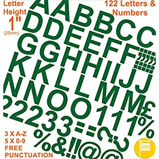 """Professional Pack of 122 pcs X 1""""(2.5cm) Self Adhesive GREEN Letters & Numbers Stickers Free Punctuation Washproof Large Lettering Signwriting Water Proof Any Project:Hitspoker"""