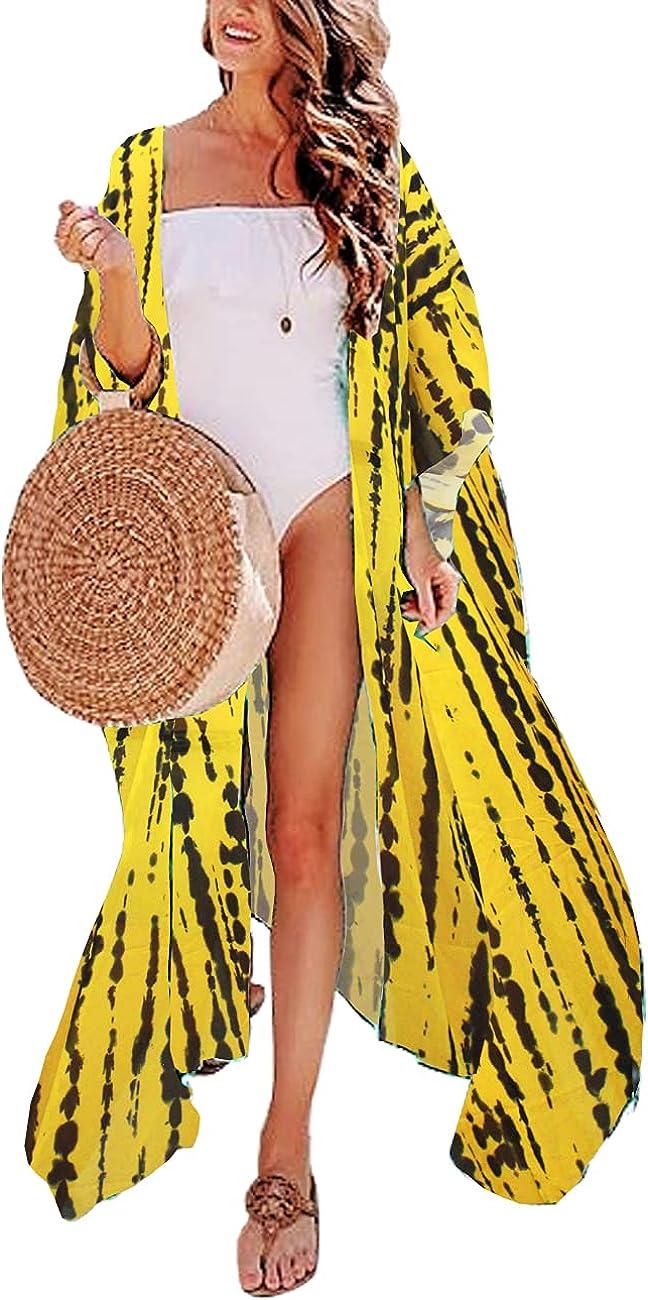 QIUYEJUO Women's Flowy Beach Kimono Long Bikini Cover Up Dress Chiffon/Rayon Open Front Cardigan