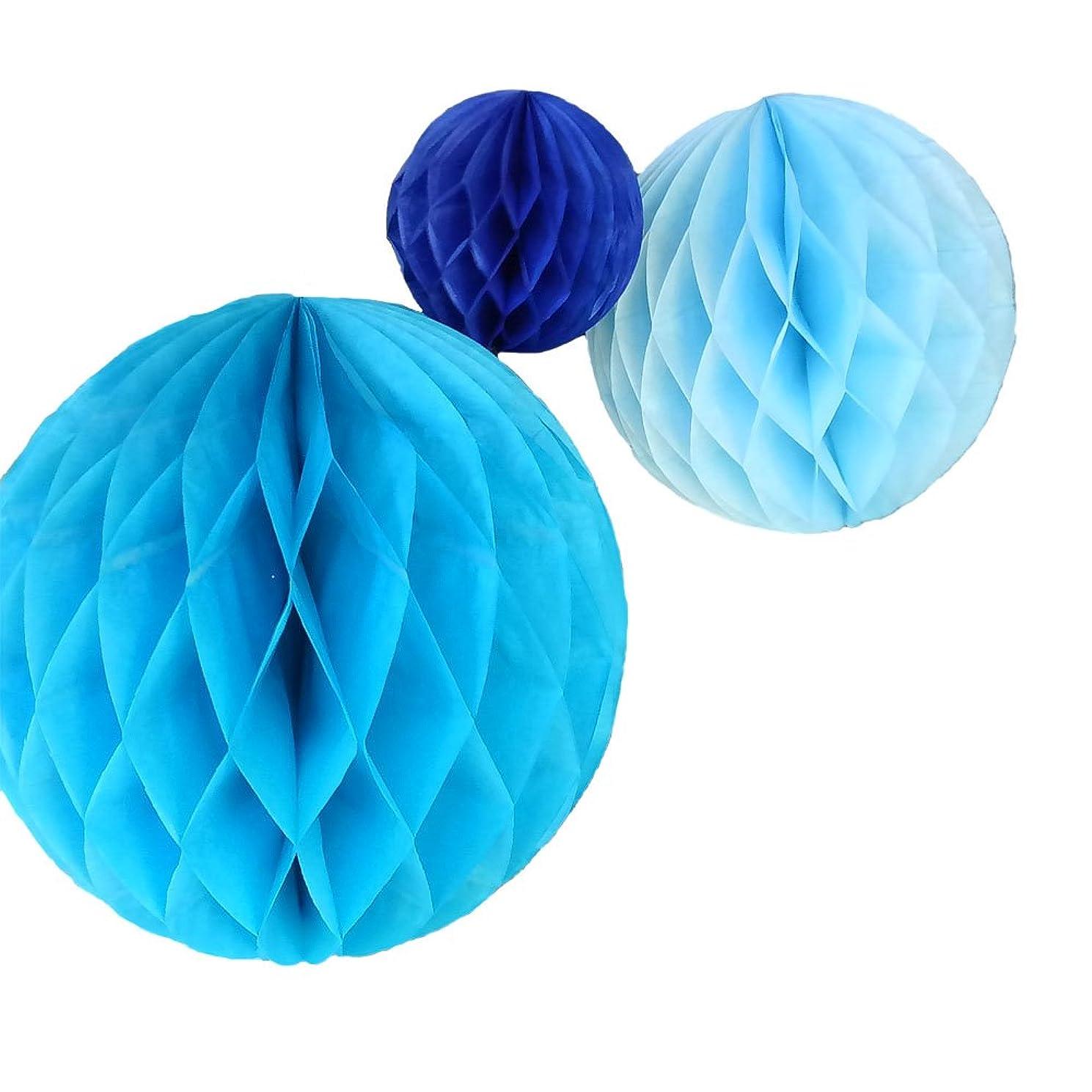 Daily Mall 15Pcs 3 inch 6 inch 8 inch Paper Honeycomb Balls Party Pom Poms Paper Balls Partners Design Art Craft Hanging Pom-Pom Ball Party Wedding Birthday Nursery Decor (Blue Set)