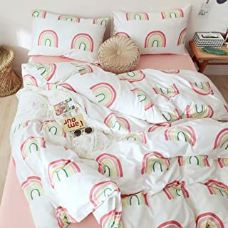 OTOB Children Cartoon Rainbow Duvet Cover Set Cotton 100 3 Piece Twin Bedding Set for Kids Baby Toddler Crib, Twin