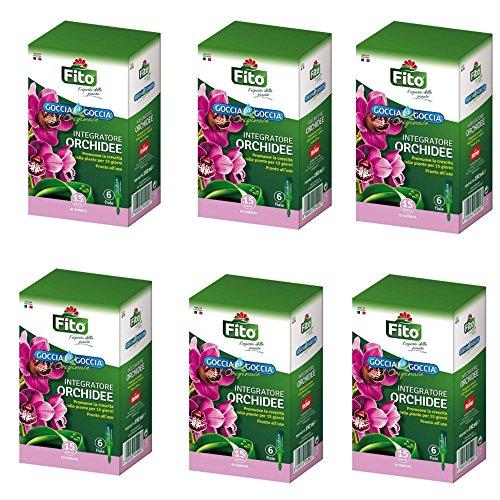 Fito Concime per Orchidee Liquido Goccia a Goccia 2/4/6/10/20 Confezioni con 6 fiale caduna x 30 ml | Nuova Formula Arricchita con VANADIO| Valido Tutto L'Anno|Fabbisogno Nutrizionale Orchidee (6)