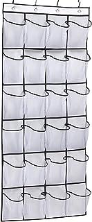 24 Mesh Pockets Over The Door Shoe Organizer Hanging Closet Shoe Hanger, White