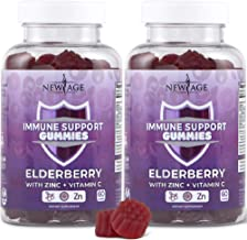 New Age Immune System Support Gummies 2-Pack - Sambucus Black Elderberry Extract with Vitamin C and Zinc - All Natural Im...