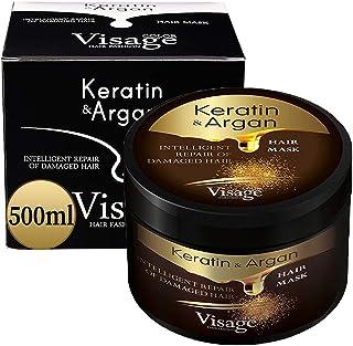 VISAGE Maschera Capelli Professionale Olio di Argan e Cheratina | Maschera Ristrutturante e Nutriente Capelli | Keratina p...