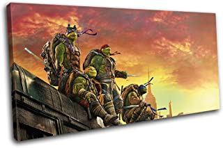Bold Bloc Design - Ninja Turtles TMNT Poster Movie Greats 80x40cm SINGLE Canvas Art Print Box Framed Picture Wall Hanging - Hand Made In The UK - Framed And Ready To Hang