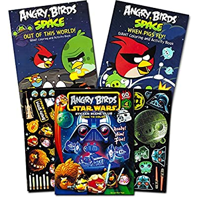 Angry Birds Coloring Book Super Set ~ 3 Jumbo Activity Books with Stickers (Angry Birds Bad Piggies Party Supplies Bundle)