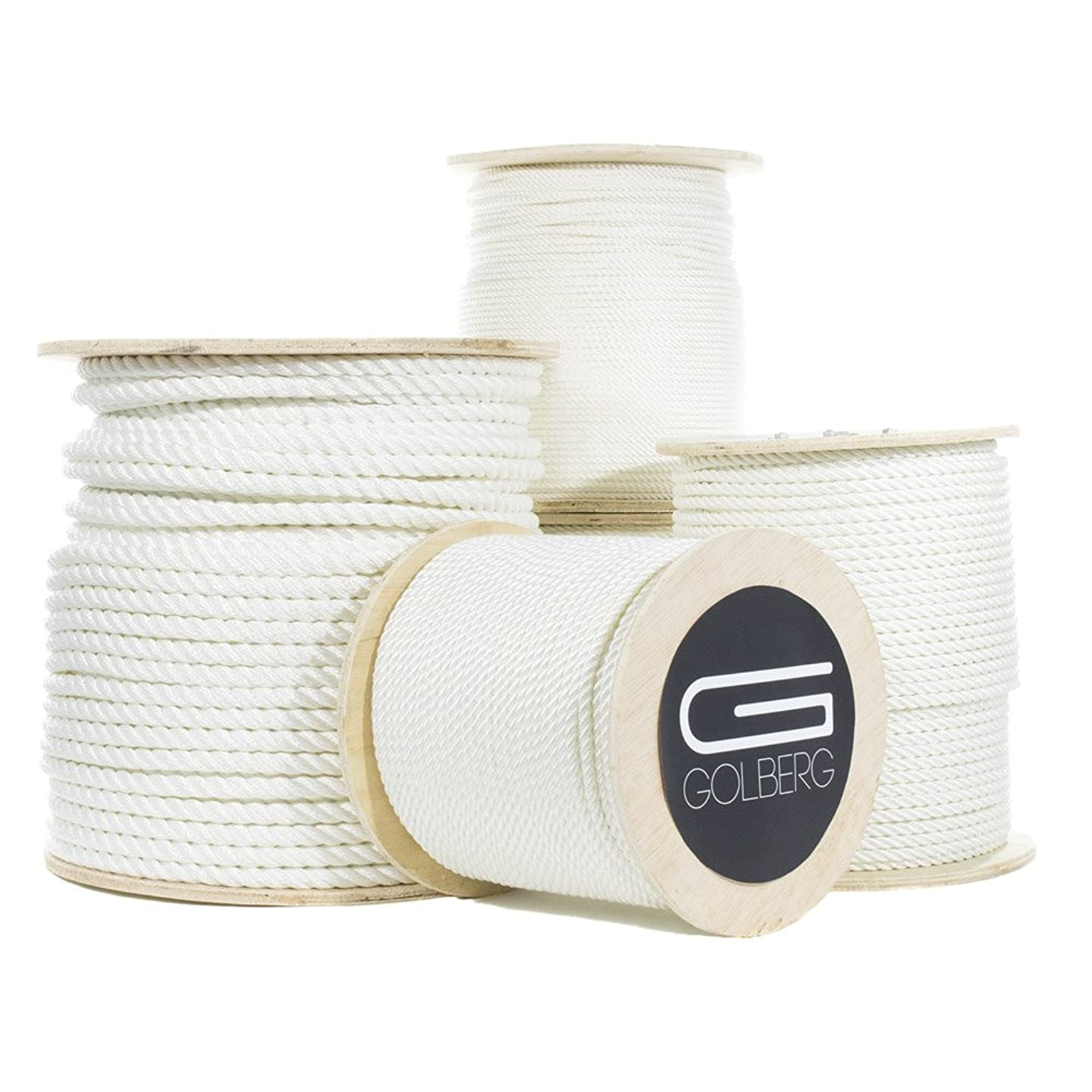 GOLBERG Twisted Nylon Rope (1/4 Inch - 2 Inch) White Multipurpose Utility Line - Weather, Chemical and Alkali Resistant - Dock Lines, Towing Lines, Heavy Loads and Crafts (10 Ft - 1200 Ft)