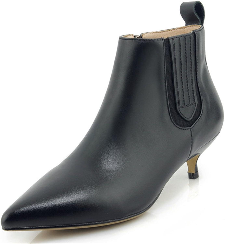 Nine Seven Cow Leather Women's Pointed Toe Kitten Heel Elegant Classic Handmade Ankle Boot