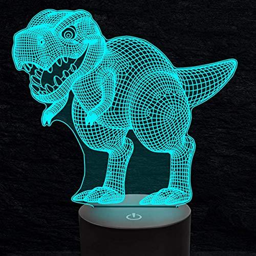 3D dinosaurio dragón noche luz USB interruptor táctil decoración mesa escritorio ilusión óptica Lámparas 7 colores cambiantes lámpara de mesa LED Navidad hogar amor niños decoración regalo juguete