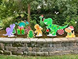 Note Card Cafe 10 Piece Outdoor Dinosaur Christmas Decoration Yard Display Set | Large Individual Signs Full Color Double Sided | Stakes Included for Lawn