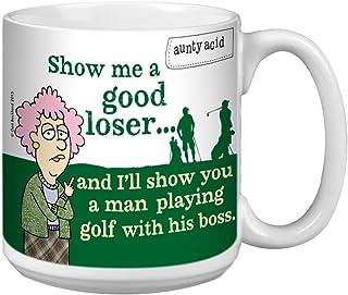 Tree-Free Greetings Extra Large 20-Ounce Ceramic Coffee Mug, Aunty Acid Golf With Boss