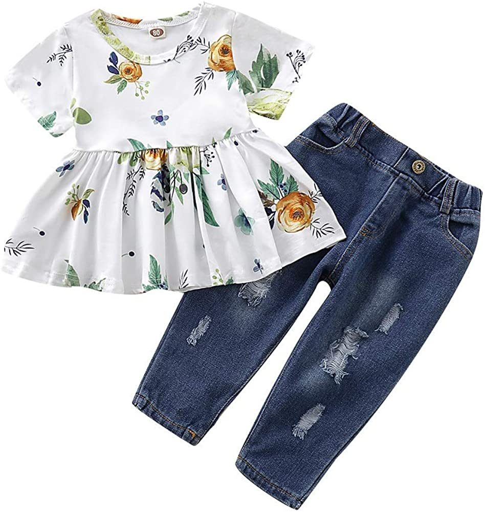 Toddler Girls Pants Outfits Infant Ripped Jeans +Floral Long Sleeve T Shirt Tops