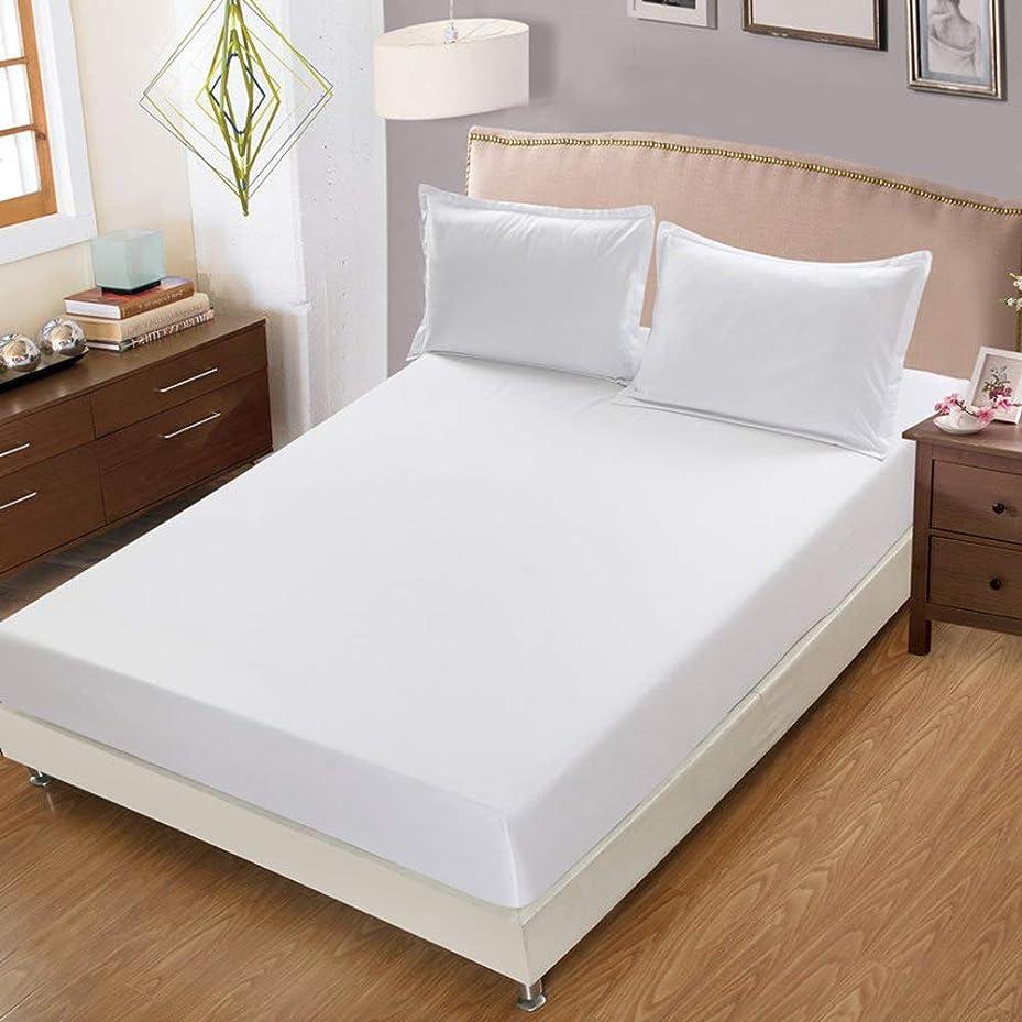同一の財団送信するプレミアム 単色 フィット シート ホテル 高級 最も柔らかい寝具 ベッド シート 深いポケット ベッド カバー シワや耐フェード ベッドカバー-ホワイト