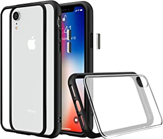 RhinoShield Modular Case for iPhone XR [Mod NX] | Customizable Shock Absorbent Heavy Duty Protective Cover - Compatible w/Wireless Charging & Lenses - Shockproof Black Bumper w/Clear Back