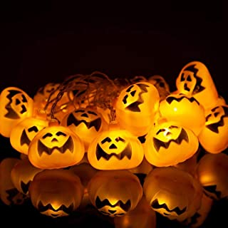 Halloween Decorations,20 LED Halloween Pumpkin Lights Decoration,Waterproof Jack o Lantern String Lights,Battery Powered Pumpkin Lantern Decor for Halloween Indoor and Outdoor Party