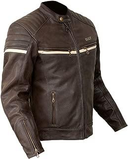 Bilt Alder Perforated Vented Full Grain CE Armor Classic Biker Riding Cafe Street Bike Motorcycle Leather Jacket - Brown 44
