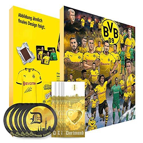 Borussia Dortmund Adventskalender XXL mit Autogrammkarten der BVB 09 Stars, 25 x Schokoladen Täfelchen, Gutschein und 5 gratis Aufkleber forever Dortmund plus 5 Lesezeichen I Love Dortmund